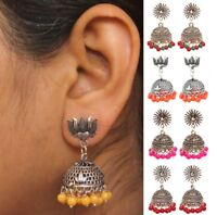 Indian Bollywood Fashion Small Silver Jhumka Jhumki Earrings Pearl Jewelry Set
