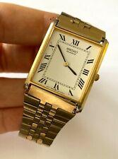 Vintage Men's Watch Seiko 5Y30 5108 Quartz Yellow Tone White Dial Runs