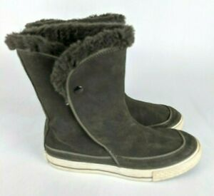 CONVERSE Beverly Gray Suede Leather Short Winter Boots Women's Size: 8