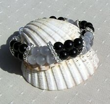 "Black Onyx & Grey Cat's Eye Crystal Gemstone Glamour Bracelet ""Baltica"""