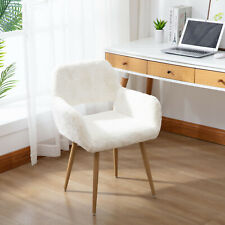 Dining Chairs Faux Fur with Solid Painting Steel Leg for Dining Room Bedroom