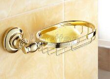 Gold Polished Brass Wall Mounted Bathroom Soap Dish Holder Basket Shelf sba094