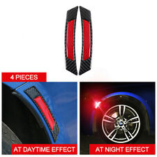 2pc Red Super Reflective Carbon Fiber Car Wheel Eyebrow Protection Sticker