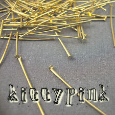 100 Gold Plated Headpins 30 x 0.7mm Head Pins