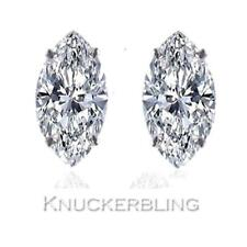 0.50ct Marquise Shape Certified F SI Diamond Solitaire Studs in 18ct White Gold