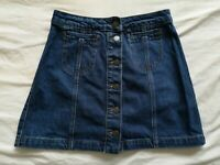 Topshop Petite Women's Blue Denim Button Up Skirt Size 8 Good Used Condition
