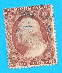 US #26 used  3 CENT WASHINGTON  1856-61 N 257