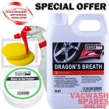 VALETPRO DRAGONS BREATH FALLOUT WHEEL CLEANER 1L & BLACK TO THE FUTURE 50ML