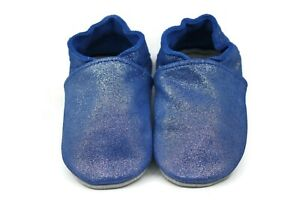 Kidzuu Soft Sole Baby Infant Leather Crib Shoe - Sparkly Periwinkle Blue Bootie