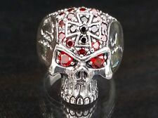 Biker Skull Ring With Red Eyes Sterling Silver 925 Ring
