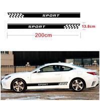 2Pcs Car Long Stripe Stylish Sport Graphics Both Side Body Vinyl Decal Sticker &