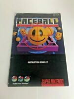 Faceball 2000 SNES Manual ONLY Super Nintendo Retro Vintage Video Game
