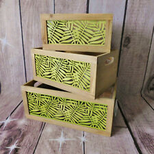 Green Tropical Leaf Wooden Display Storage Box Crates Metal Botanical Panel