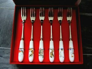 Royal Worchester Wrendale Set of 6 Christmas Pastry Forks - BNIB