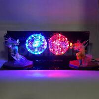 Rare Dragon Ball Z Goku vs Vegeta Power Up Led Light Lamp Action Figure Full Set