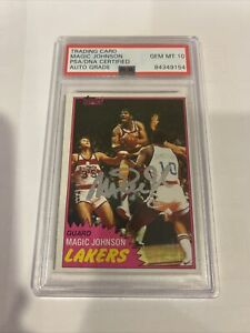 Autographed Magic Johnson Signed 1981 Topps #21 Lakers HOF PSA/DNA Auto Gem 10