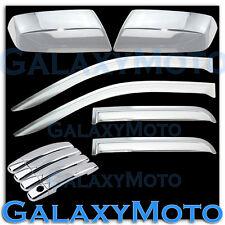 14-15 GMC Sierra 1500 Chrome Half Mirror+4 Door Handle+Rain Shade Window Visor