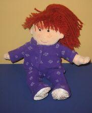 "2004 Commonwealth Pretend Play 10"" Plush Yarn Red Hair Doll in Purple Pajamas"