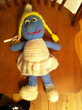 Vintage Hecho a Mano Pitufina Peluche Amy Personalizado Pitufos One Of a Kind