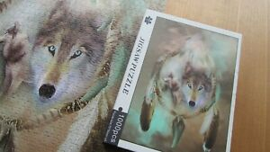 Jigsaw puzzle 3 wolves 1000 pcs wooden backed coded No missing pcs