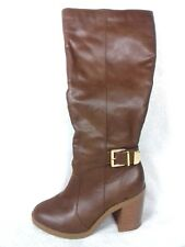 New Look Size 4 Brown Faux Leather Gold Buckle Block Heel Knee High Boots