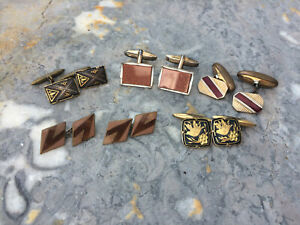 Beautiful Gold & Silver Cufflinks Mid Century Modern 3 pairs Vintage