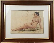 NAKED WOMAN. DRAWING PASTEL ON PAPER.TORRES GARCIA?. TWENTIETH CENTURY.
