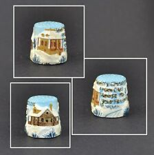 PEWTER HAND PAINTED TCG THIMBLE - MERRY CHRISTMAS