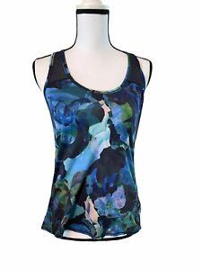 Athleta Mystique Chi Mesh Tank Blue Floral Sz S