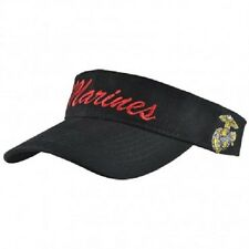USMC Marine Marines Black and Red EGA Letter Visor Cap Hat
