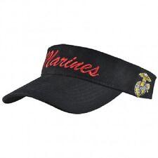 USMC Marine Marines Black and Red EGA Letter Visor Cap Hat