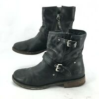 UGG Australia Buckle Side Zip Leather Ankle Biker Boots Womens 11 Black Leather