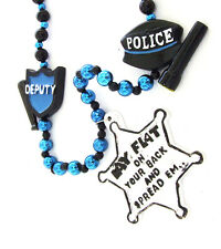 Lay Flat and Spread Em Sheriff Badge Deputy Mardi Gras Bead Necklace