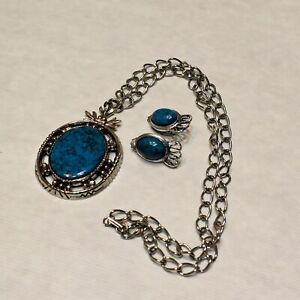 Vintage Silvertone Necklace Clip On Earrings Set Faux Turquoise