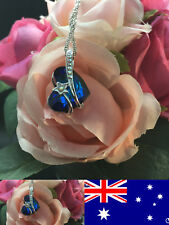 925 Sterling Silver Blue OCEAN HEART NECKLACE CRYSTAL Necklace Jewlery