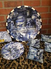 "ANNIE MODICA IMARI Blue & White HUGE Wood Serving 15"" BOWL Chinese Vase NEW RARE"