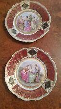 "Pair of C1890 Royal Vienna Austria Porcelain Plate w/ Figural Scene 8 1/4"""