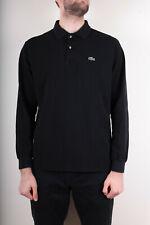 Lacoste Men`s Long Sleeve Black Cotton Polo Shirt Size 5 ( L )