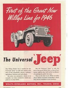 1945 Original Willys Jeep ad - First of the line for 1946