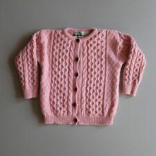 Aran Crafts Irish Wool Sweater Cardigan Pink Merino Wool Girls Kids Youth 8-11