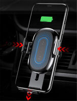 Silver Wireless Car Charger Air Vent Mount Phone Holder For  iPhone Samsung
