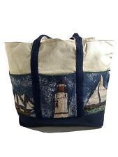 Canvas Tote Bag Extra Large. Ivory/ Navy Blue with Light House & Sailboat Design