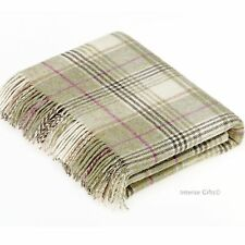 BRONTE Check Throw 100% Pure New Shetland Wool Fern Green Blanket Huntingtower