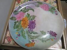 Hand-Painted Floral Porcelain 9.5'' Plate Made in Germany V Signed VZ260