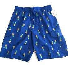 Beverly Hills Polo Club Mens Swim Shorts Trunks Blue Pineapple Design Size M