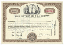 Texas Southern Oil & Gas Company Stock Certificate