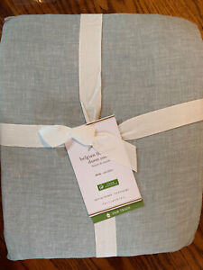 Pottery Barn Belgian Flax Linen Duvet Cover Twin Mineral Blue NEW