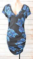 White Closet Dress Sz 12 Medium Black Blue Floral Pencil Shift Dress