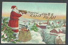 1912 PPC* Xmas Greetings W/Santa Megaphone Wishing Merry Xmas Embossed Posted