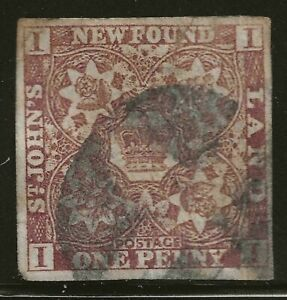NEWFOUNDLAND #15A used - ONE PENNY, violet brown